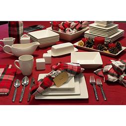 Elegant, Eye-catching Simply Square 40pc Dinnerware Set