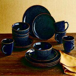 Elegant Black Speckled Dinnerware Set Dining Plates Bowls an