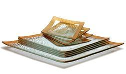 GAC Elegant Designed Square Tempered Glass Dinner Plates, De
