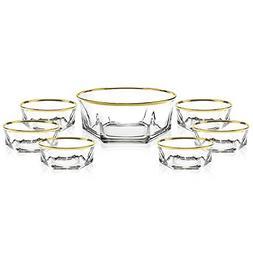 Elegant Luxury Crystal 7 Piece Serving Salad Bowl Set with 2