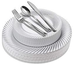 125-Piece Elegant Plastic Plates & Cutlery Set Service for 2