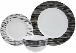 Elegant Porcelain Black $ White Sketches 18-Piece  Dinnerwar