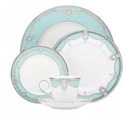 Elegant Tiffany Blue Empire Pearl 49 Pcs Dinner Set , Servic