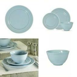 Mainstays Elevated Rim 12-Piece Round Stoneware Dinnerware S