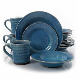 Gibson Elite BLUE Mariani 16 Piece Round Stoneware Dinnerwar