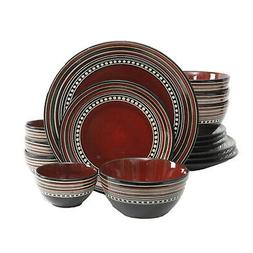 Gibson Elite Cafe Versailles 16-piece Double Bowl Red Dinner