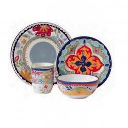 NEW Gibson Elite Fiore Olivetti 4 Piece Dinnerware Set 10718