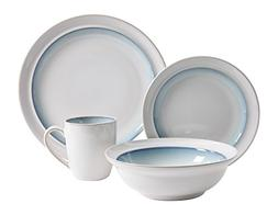 Gibson Elite 16 Piece Lawson Dinnerware Set, White/Teal