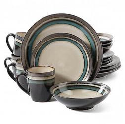 Elite Lewisville Teal Stoneware 16-piece Dinnerware Set Kitc
