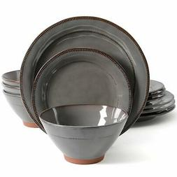 elite terranea 12 piece dinnerware set grey