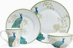 222 Fifth Jewel-toned Teal Peacock 16 Piece Dinnerware Set S