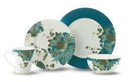 222 Fifth Eliza Teal 16 Piece Porcelain Dinnerware Set, Serv