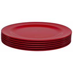 Zak Designs Ella 9-inch Plastic Plates, Red, 6 piece set