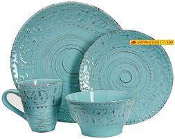 Elama Elm Malibu Waves 16-Piece Dinnerware Set In Turquoise,