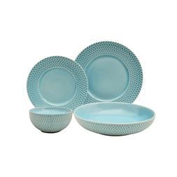 Embossed Aqua 16-Piece Aqua Dinnerware Set Kitchen Dining Di
