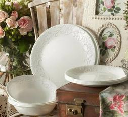 Corelle Embossed Bella Faenza 16-Piece  Dinnerware Set Servi