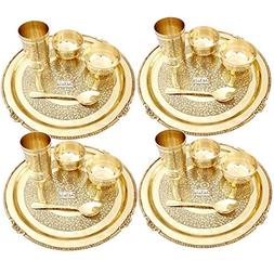 Prisha India Craft Embossed Design Pure Brass Dinner Thali S