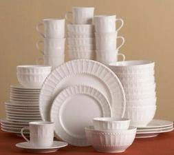 Gibson Embossed Dinnerware Set Scalloped Beaded 48-Piece for