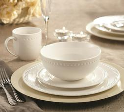 Embossed Round Rim Pearl Dining Dinnerware set for 4