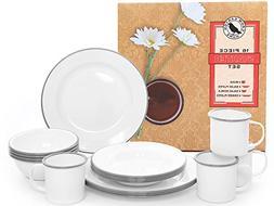 Enamelware 16 Piece Dinnerware Starter Set - Solid White wit