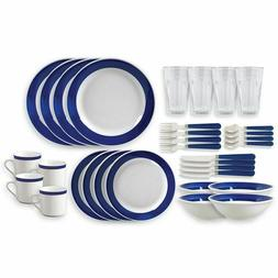 Gibson Essex 32 Piece Dinnerware Set. Cobalt Blue.  New in B