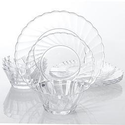 Gibson Home Estelle 12-Piece Dinnerware Set, Round, Clear, A
