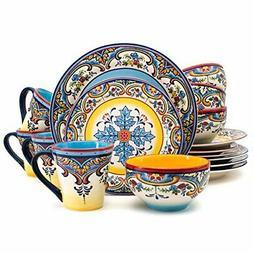 Euro Ceramica Inc. YS-ZB-1001 16 Piece Dinnerware Set Kitche