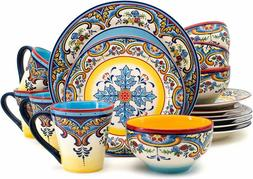 Euro Ceramica Inc. Ys-Zb-1001 Earthenware 16 Piece Set Dinne