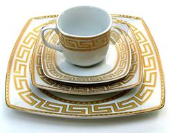 Euro Porcelain 20-pc Dinnerware Set w/ Gold Greek Key Patter