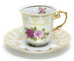 """Euro Porcelain 12-Pc. """"Roses"""" Tea Cup and Saucer Coffee Set"""