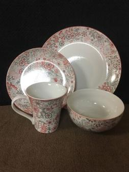222 Fifth Evangeline Red 16Pc Place Setting Dinnerware Set S