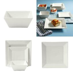 Gibson Home Everyday Hard Square 12-Piece White Dinnerware S