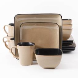 Gibson Everyday Rave Square 16-Piece Dinnerware Set, Taupe