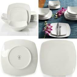 Everyday Square White Ceramic 12-Pieces Dessert Plates Bowls