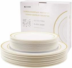 Exquisite Plastic Disposable Dinnerware Set - 60 Pcs - Weddi