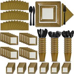 Fancy Disposable Gold Dinnerware Set - 24 Guest - 2 Size Squ