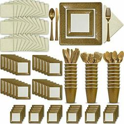 Fancy Disposable Gold & Ivory Dinnerware Set - 24 Guest - 2