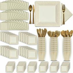 Fancy Disposable Ivory  Dinnerware Set - 24 Guest - 2 Size S