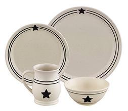 Farmhouse Black and Cream Country Star Dinnerware, Stoneware