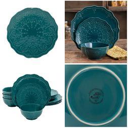 Farmhouse Dinnerware Set 12 Piece Vintage Rustic Style Servi