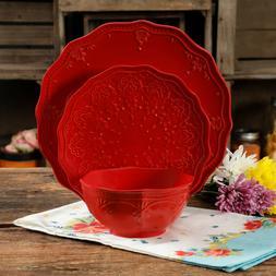 The Pioneer Woman Farmhouse Lace 12-Piece Dinnerware Set, Re