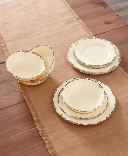 Farmhouse Solid Melamine Country Dinnerware - Cream 12-Pc. P