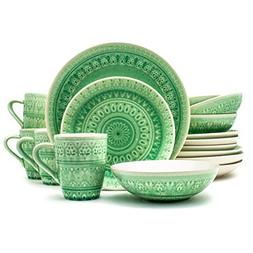 Euro Ceramica Fez Collection 16 Piece Ceramic Reactive Crack