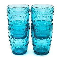 Euro Ceramica Fez Glassware Collection Highball Glasses, 14o