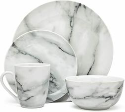 Fine Round Gloss Dinnerware Dish Set 16 Piece Black and Whit
