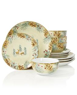 222 Fifth First Snow 12 Piece Dinnerware Set Christmas Holid