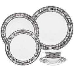 Oxford Flamingo Sense 42 Piece Porcelain Dinnerware Set, Whi
