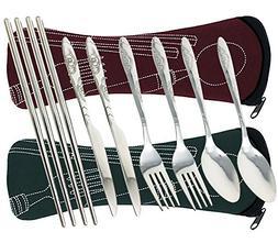 8 Pieces Flatware Sets Knife, Fork, Spoon, Chopsticks, FIBOU