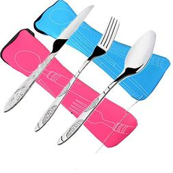 6 PCS Flatware Sets Knifes, Forks, Spoons, 2 Pack Lightweigh