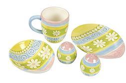 Floral Dinnerware Set - 5-Piece Colorful Ceramic Dinner Plat